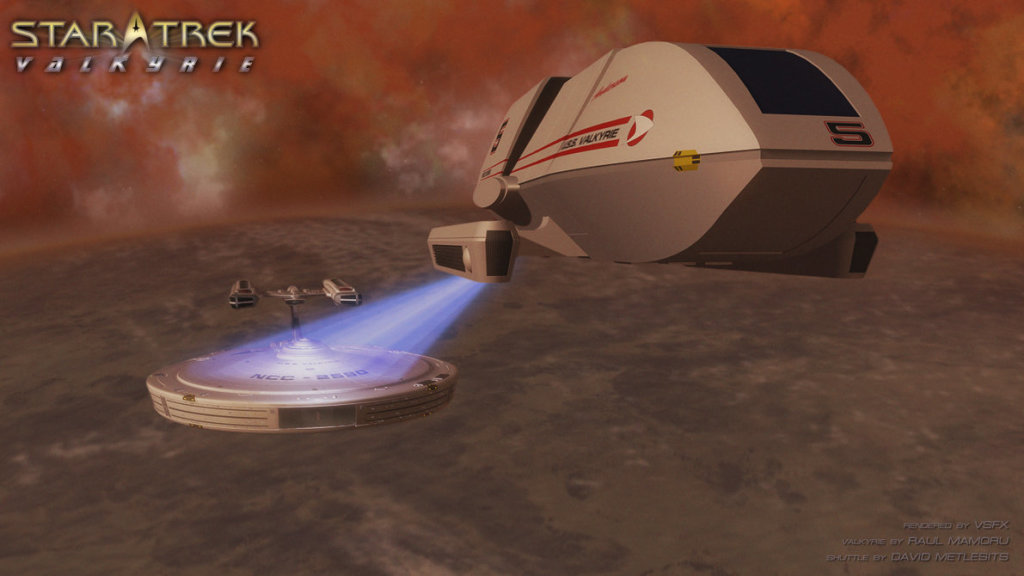 Shuttlecraft Anderson attempts to stop the Valkyrie from burning up in the atmosphere of a planet.