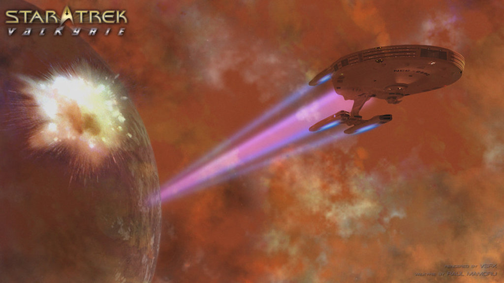 The reactors on the planet explode just as the Valkyrie escapes, using an emergency restart of its warp engines.